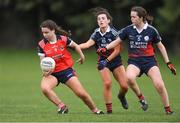 30 March 2019; Aishling McCormack of Mercy SS Ballymahon in action against Lauren Maguire, centre, and Muirinn Claffey of Mercy SS Ballymahon during the Lidl All-Ireland Post-Primary Schools Senior C Final match between Mercy SS, Ballymahon, Co Longford, and St Mary's High School, Midleton, Co Cork, at St Rynagh's GAA in Banagher, Co Offaly. Photo by Piaras Ó Mídheach/Sportsfile