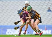 31 March 2019; Katie Power of Kilkenny in action against Colette Dormer and Catherine Foley, behind, of Kilkenny during the Littlewoods Ireland Camogie League Division 1 Final match between Kilkenny and Galway at Croke Park in Dublin. Photo by Piaras Ó Mídheach/Sportsfile