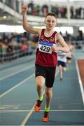 31 March 2019; Conor Liston of Mullingar Harriers A.C., Co. Westmeath, celebrates winning the Boys Under 13 600m event during Day 2 of the Irish Life Health National Juvenile Indoor Championships at AIT in Athlone, Co Westmeath. Photo by Sam Barnes/Sportsfile
