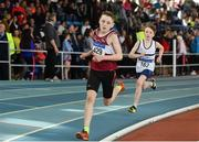 31 March 2019; Conor Liston of Mullingar Harriers A.C., Co. Westmeath, left, on his way to winning the Boys Under 13 600m event during Day 2 of the Irish Life Health National Juvenile Indoor Championships at AIT in Athlone, Co Westmeath. Photo by Sam Barnes/Sportsfile
