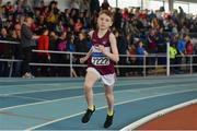 31 March 2019; Matthew Molloy of Mullingar Harriers A.C., Co. Westmeath, on his way to winning the Boys Under 12 600m event during Day 2 of the Irish Life Health National Juvenile Indoor Championships at AIT in Athlone, Co Westmeath. Photo by Sam Barnes/Sportsfile