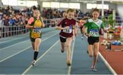 31 March 2019; Athletes, from left, Cait O'Reilly of Annalee AC, Co. Cavan, Abbie Doherty of Crookstown Millview A.C., Co. Kildare, and Myah Gallagher of Tuam A.C., Co. Galway,  competing in the Girls U13 600m event during Day 2 of the Irish Life Health National Juvenile Indoor Championships at AIT in Athlone, Co Westmeath. Photo by Sam Barnes/Sportsfile