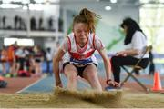 31 March 2019; Tara Keane of Galway City Harriers A.C., Co. Galway, competing in the Girls Under 13 Long Jump  event  during Day 2 of the Irish Life Health National Juvenile Indoor Championships at AIT in Athlone, Co Westmeath. Photo by Sam Barnes/Sportsfile