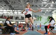 31 March 2019; Layla Stafford of D.M.P. A.C., Co. Wexford, competing in the Girls Under 13 Long Jump event during Day 2 of the Irish Life Health National Juvenile Indoor Championships at AIT in Athlone, Co Westmeath. Photo by Sam Barnes/Sportsfile