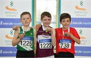 31 March 2019; Boys Under 12 600m medallists, from left, Matthew Kelly of Castlebar A.C., Co.  Mayo, bronze, Matthew Molloy of Mullingar Harriers A.C., Co. Westmeath, gold, and Finn Duignan of St. Cronans A.C., Co. Clare, silver, during Day 2 of the Irish Life Health National Juvenile Indoor Championships at AIT in Athlone, Co Westmeath. Photo by Sam Barnes/Sportsfile