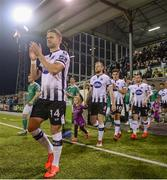 29 March 2019; Dundalk players, from left, Dane Massey, Sean Hoare, Jamie McGrath and Michael Duffy walk-out prior to the SSE Airtricity League Premier Division match between Dundalk and Cork City at Oriel Park in Dundalk, Louth. Photo by Ben McShane/Sportsfile