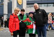 31 March 2019; Mayo supporters, from left, Bernie Broder, Sophie Kane, Abbie Loftus and Tom Denning, from Castlebar, ahead of the Allianz Football League Division 1 Final match between Kerry and Mayo at Croke Park in Dublin. Photo by Ramsey Cardy/Sportsfile