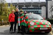 31 March 2019; Mayo supporters, from left, Bernie Broder, Tom Denning, Sophie Kane and Abbie Loftus, from Castlebar, ahead of the Allianz Football League Division 1 Final match between Kerry and Mayo at Croke Park in Dublin. Photo by Ramsey Cardy/Sportsfile