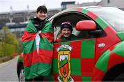 31 March 2019; Mayo supporters Sophie Kane, left, and Abbie Loftus, from Castlebar, ahead of the Allianz Football League Division 1 Final match between Kerry and Mayo at Croke Park in Dublin. Photo by Ramsey Cardy/Sportsfile