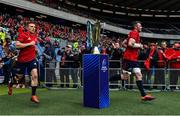 30 March 2019; Andrew Conway, left, and captain Peter O'Mahony of Munster run out past the Champions Cup prior to during the Heineken Champions Cup Quarter-Final match between Edinburgh and Munster at BT Murrayfield Stadium in Edinburgh, Scotland. Photo by Brendan Moran/Sportsfile