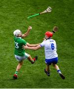 31 March 2019; Aaron Gillane of Limerick in action against Tadhg De Búrca of Waterford during the Allianz Hurling League Division 1 Final match between Limerick and Waterford at Croke Park in Dublin. Photo by Ramsey Cardy/Sportsfile