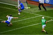 31 March 2019; Waterford goalkeeper Stephen O'Keeffe saves a shot at goal by Aaron Gillane of Limerick during the Allianz Hurling League Division 1 Final match between Limerick and Waterford at Croke Park in Dublin. Photo by Ramsey Cardy/Sportsfile