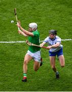 31 March 2019; Aaron Gillane of Limerick in action against Calum Lyons of Waterford during the Allianz Hurling League Division 1 Final match between Limerick and Waterford at Croke Park in Dublin. Photo by Ramsey Cardy/Sportsfile