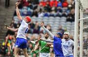 31 March 2019; Tadhg De Búrca of Waterford catches the ball in the square as team-mates Waterford goalkeeper Stephen O'Keeffe and Shane McNulty look on alongside Graeme Mulcahy of Limerick during the Allianz Hurling League Division 1 Final match between Limerick and Waterford at Croke Park in Dublin. Photo by Piaras Ó Mídheach/Sportsfile