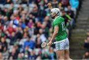 31 March 2019; Aaron Gillane of Limerick celebrates scoring his side's first goal during the Allianz Hurling League Division 1 Final match between Limerick and Waterford at Croke Park in Dublin. Photo by Piaras Ó Mídheach/Sportsfile
