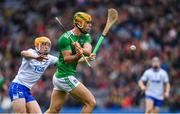 31 March 2019; Dan Morrissey of Limerick in action against Peter Hogan of Waterford during the Allianz Hurling League Division 1 Final match between Limerick and Waterford at Croke Park in Dublin. Photo by Ray McManus/Sportsfile
