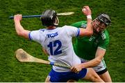 31 March 2019; Pauric Mahony of Waterford is tackled by Diarmaid Byrnes of Limerick during the Allianz Hurling League Division 1 Final match between Limerick and Waterford at Croke Park in Dublin. Photo by Ramsey Cardy/Sportsfile