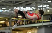 31 March 2019; Joshua Knox of City of Lisburn A.C., Co. Down, competing in the Boys Under 18 High Jump event during Day 2 of the Irish Life Health National Juvenile Indoor Championships at AIT in Athlone, Co Westmeath. Photo by Sam Barnes/Sportsfile