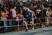 31 March 2019; Jordan Kissane of Tralee Harriers A.C., Co. Kerry, left, on his way to winning the Under 17 200m event, ahead of Charles Okafor of Mullingar Harriers A.C., Co. Westmeath,  during Day 2 of the Irish Life Health National Juvenile Indoor Championships at AIT in Athlone, Co Westmeath. Photo by Sam Barnes/Sportsfile