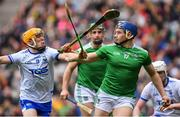 31 March 2019; Mike Casey of Limerick in action against Peter Hogan of Waterford during the Allianz Hurling League Division 1 Final match between Limerick and Waterford at Croke Park in Dublin. Photo by Piaras Ó Mídheach/Sportsfile