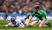 31 March 2019; Peter Casey of Limerick in action against Calum Lyons of Waterford during the Allianz Hurling League Division 1 Final match between Limerick and Waterford at Croke Park in Dublin. Photo by Stephen McCarthy/Sportsfile
