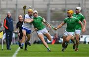 31 March 2019; Jack Prendergast of Waterford and Kyle Hayes of Limerick battle for possession as, from left, Limerick manager John Kiely, linesman Seán Cleere Tom Morrissey, and Aaron Gillane look on during the Allianz Hurling League Division 1 Final match between Limerick and Waterford at Croke Park in Dublin. Photo by Piaras Ó Mídheach/Sportsfile