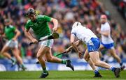 31 March 2019; Peter Casey of Limerick is tackled by Shane McNulty of Waterford during the Allianz Hurling League Division 1 Final match between Limerick and Waterford at Croke Park in Dublin. Photo by Stephen McCarthy/Sportsfile