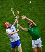 31 March 2019; Tadhg De Búrca of Waterford in action against Gearóid Hegarty of Limerick during the Allianz Hurling League Division 1 Final match between Limerick and Waterford at Croke Park in Dublin. Photo by Ramsey Cardy/Sportsfile