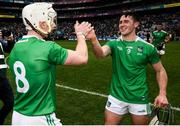 31 March 2019; Cian Lynch, left, celebrates with Darragh O'Donovan of Limerick following the Allianz Hurling League Division 1 Final match between Limerick and Waterford at Croke Park in Dublin. Photo by Stephen McCarthy/Sportsfile