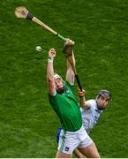 31 March 2019; Cian Lynch of Limerick in action against Jamie Barron of Waterford during the Allianz Hurling League Division 1 Final match between Limerick and Waterford at Croke Park in Dublin. Photo by Ramsey Cardy/Sportsfile