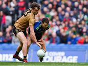 31 March 2019; David Clifford of Kerry tackles Chris Barrett of Mayo before scoring a first half goal, that was ruled out by referee Fergal Kelly for a foul on Barrett, during the Allianz Football League Division 1 Final match between Kerry and Mayo at Croke Park in Dublin. Photo by Piaras Ó Mídheach/Sportsfile