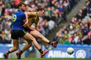 31 March 2019; David Clifford of Kerry scores a first half goal as Aidan O'Shea of Mayo closes in, before it was ruled out by referee Fergal Kelly for a foul by Clifford on Chris Barrett, during the Allianz Football League Division 1 Final match between Kerry and Mayo at Croke Park in Dublin. Photo by Piaras Ó Mídheach/Sportsfile