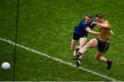 31 March 2019; Stephen O'Brien of Kerry shoots to score his side's second goal despite the attention of Patrick Durcan of Mayo during the Allianz Football League Division 1 Final match between Kerry and Mayo at Croke Park in Dublin. Photo by Ramsey Cardy/Sportsfile