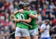 31 March 2019; Limerick players Diarmaid Byrnes, right, and Gearóid Hegarty celebrate after the Allianz Hurling League Division 1 Final match between Limerick and Waterford at Croke Park in Dublin. Photo by Piaras Ó Mídheach/Sportsfile