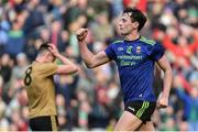 31 March 2019; Diarmuid O'Connor of Mayo celebrates scoring his side's second goal as Jack Barry of Kerry looks on dejected during the Allianz Football League Division 1 Final match between Kerry and Mayo at Croke Park in Dublin. Photo by Piaras Ó Mídheach/Sportsfile