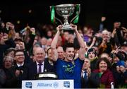 31 March 2019; Diarmuid O'Connor of Mayo lifts the cup following the Allianz Football League Division 1 Final match between Kerry and Mayo at Croke Park in Dublin. Photo by Stephen McCarthy/Sportsfile