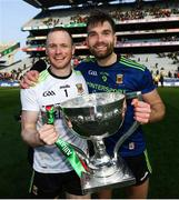 31 March 2019; Mayo goalkeeper Rob Hennelly, left, and Aidan O'Shea of Mayo with the cup following the Allianz Football League Division 1 Final match between Kerry and Mayo at Croke Park in Dublin. Photo by Stephen McCarthy/Sportsfile