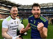 31 March 2019; Aidan O'Shea of Mayo and his Breaffy team-mate Rob Hennelly celebrate after the Allianz Football League Division 1 Final match between Kerry and Mayo at Croke Park in Dublin. Photo by Ray McManus/Sportsfile