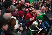 31 March 2019; Andy Moran of Mayo and his son Ollie are congratulated following the Allianz Football League Division 1 Final match between Kerry and Mayo at Croke Park in Dublin. Photo by Stephen McCarthy/Sportsfile