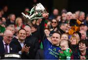 31 March 2019; Andy Moran of Mayo, and his son Ollie, lifts the cup following the Allianz Football League Division 1 Final match between Kerry and Mayo at Croke Park in Dublin. Photo by Stephen McCarthy/Sportsfile