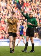 31 March 2019; Diarmuid O'Connor of Kerry receives a red card from referee Fergal Kelly during the Allianz Football League Division 1 Final match between Kerry and Mayo at Croke Park in Dublin. Photo by Stephen McCarthy/Sportsfile