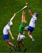 31 March 2019; Stephen Bennett, left, and Austin Gleeson of Waterford in action against Dan Morrissey of Limerick during the Allianz Hurling League Division 1 Final match between Limerick and Waterford at Croke Park in Dublin. Photo by Ramsey Cardy/Sportsfile