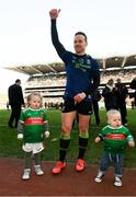 31 March 2019; Andy Moran of Mayo and his children Ollie and Charlotte celebrate following the Allianz Football League Division 1 Final match between Kerry and Mayo at Croke Park in Dublin. Photo by Stephen McCarthy/Sportsfile