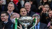 31 March 2019; An Taoiseach Leo Varadkar, T.D., watches proceedings as the cup is about to be presented after the Allianz Football League Division 1 Final match between Kerry and Mayo at Croke Park in Dublin. Photo by Ray McManus/Sportsfile