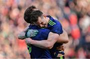 31 March 2019; Mayo players Matthew Ruane, right, and Aidan O'Shea celebrate after the Allianz Football League Division 1 Final match between Kerry and Mayo at Croke Park in Dublin. Photo by Piaras Ó Mídheach/Sportsfile