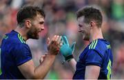 31 March 2019; Mayo players Aidan O'Shea, left, and Matthew Ruane celebrate after the Allianz Football League Division 1 Final match between Kerry and Mayo at Croke Park in Dublin. Photo by Piaras Ó Mídheach/Sportsfile
