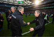 31 March 2019; Mayo manager James Horan and Kerry manager Peter Keane, right, following the Allianz Football League Division 1 Final match between Kerry and Mayo at Croke Park in Dublin. Photo by Stephen McCarthy/Sportsfile