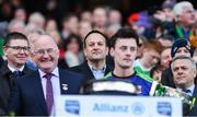 31 March 2019; An Taoiseach Leo Varadkar TD, looks on as Mayo captain Diarmuid O'Connor gives his acceptance speech after the Allianz Football League Division 1 Final match between Kerry and Mayo at Croke Park in Dublin. Photo by Piaras Ó Mídheach/Sportsfile