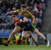 31 March 2019; Chris Barrett of Mayo is tackled by David Clifford of Kerry as he prepares to clear late in the Allianz Football League Division 1 Final match between Kerry and Mayo at Croke Park in Dublin. Photo by Ray McManus/Sportsfile