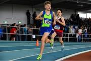 31 March 2019; Thomas Bolton of Metro/St. Brigid's A.C., Co. Dublin, competing in the Boys Under 14 800m event during Day 2 of the Irish Life Health National Juvenile Indoor Championships at AIT in Athlone, Co Westmeath. Photo by Sam Barnes/Sportsfile